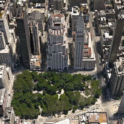 Aerial shot of Madison Square Park